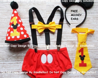 Mickey Mouse Birthday outfit cake smash COSTUME suspenders FREE EARS diaper cover bow tie or I am one tie Hat 9 12 18 24 toddler GinaBellas1