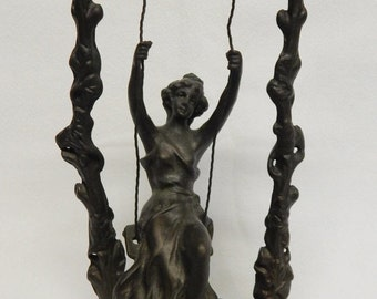 Sale French Bronze Art Nouveau Sculpture Statue Victorian Woman on Swing (Signed) Moreau / Home Decor