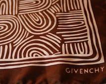 "GIVENCHY Vintage Silk Scarf - Brown White Swirls - 18 x 18"" Square"