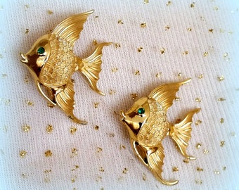 Cute Fish Scatter Pin Duo - Textured Gold Tone - Cute Little Green Rhinestone Eyes