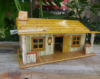 Vintage Marx Tin Lithograph Western Cabin 1950's