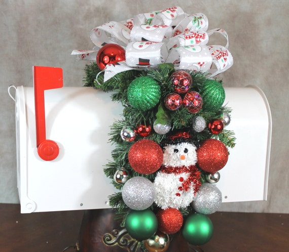 Christmas Swags Decorations: Christmas Mailbox Swag Snowman Mailbox Christmas Swag