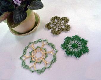 Three handmade Lace Coasters  - green coasters-three shades of green coasters- three handmade doilies -  home decor - tatting coasters
