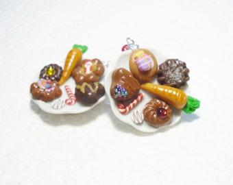 Cookies For Santa Earrings. Polymer Clay