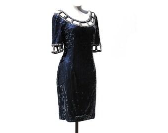 Vintage Navy Blue Sequin Cut out Cocktail Dress