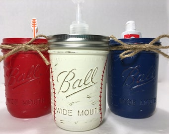 Baseball Bathroom Decor, Baseball Gift Set, Sports Theme Bathroom Decor,  Soap Dispenser,