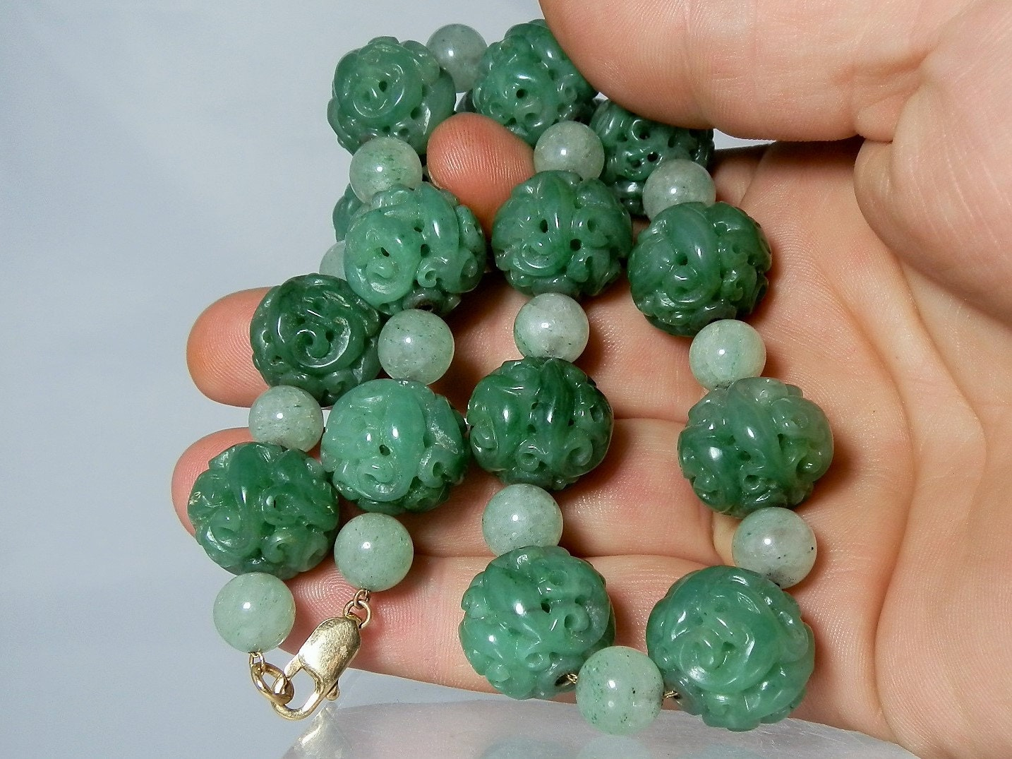 rare carved jadeite jade bead necklace 14k by