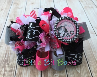 Oh So Posh Puppy Funky Loopy Bow with Bling Bottle Cap Embellishment