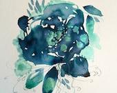 Original Art pen and ink painting, indigo ink illustration, blue flower ink sketch, floral art, ink wash painting , OOAK artwork