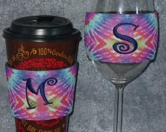 Wine Glass Sleeve,Coffee Sleeve, Tye Dye