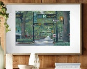 """Art Print - """"Main Street, On My Mind"""" - Downtown Greenville Acrylic Painting Print - Various Sizes Available"""