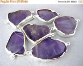 40% off CLEARANCE Amethyst Quartz Freeform Connector Pendant with Sterling Silver Electroplated edge and Double Bail