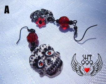 Sugar Skull earrings for Dia de los Muertos, Day of the Dead for pierced ears - closeout sale item (will not be relisted)