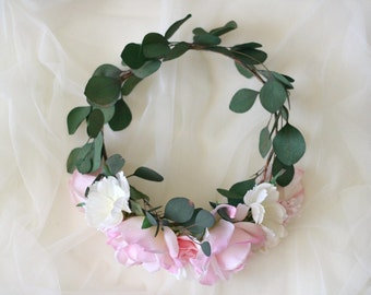 The Leighton Flower Crown created with dried eucalytpus leaves, pink roses, lilacs and white wild cosmos