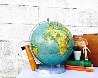 WORLD GLOBE | Nystrom 16-inch Pictorial Relief Globe | Vintage (c.1955-1956) Extra-Large Mid-Century Classroom Globe w/ Danish Modern Stand