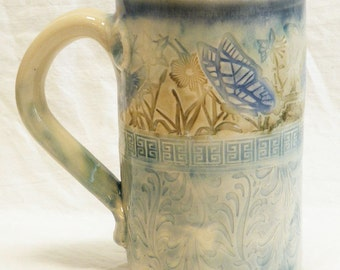 Stoneware 16oz. artisan butterfly ceramic mug 16A084