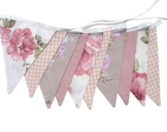 Vintage Bunting - Country Check Lace Floral Flags . Garden Tea Party Decoration. Party Banner, Market Stall, Pennant, etc. Upcycled