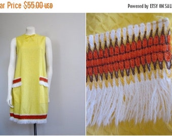 60s Shift Dress / Native American / Lord and Taylor / American Indian / Yellow / Mad Men / Mid Century / Boho / Summer / Tribal / Sleeveles
