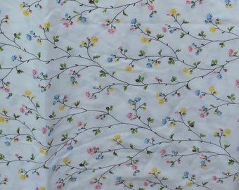 Vintage, sheet, flat twin sheet, blue, yellow, and pink tiny flowers, floral, bedding, contage floral, vines,