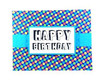Comic-inspired birthday card, polka dot birthday card, teens birthday card, kids birthday card, colourful birthday card, fun birthday card