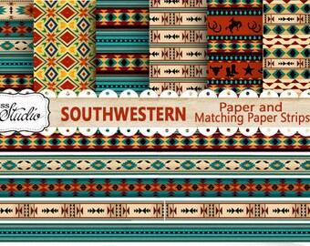 Western Paper Pack, Instant Digital Download, 6 Custom Designed Papers 6 Border Strips, Cards, Southwestern Printable Paper, Borders