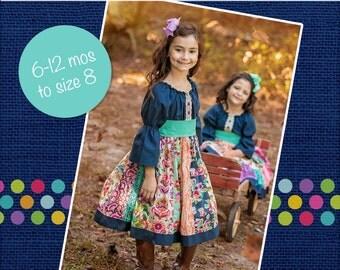 Jewel's Stripwork Dress PDF Pattern Now size 6m to size 8 NEW ruffle option