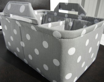 "LG Long Diaper Caddy 8"" x 12"" x 6""(choose COLORS)""One Divider -Baby Gift-Fabric Storage Organizer-Polka Dot-""White Polka Dots on Grey"""