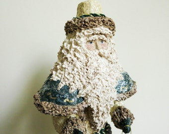 Vintage Santa with Mask and Basket - Linda Lindquist Baldwin for Schmid - Folk Art Style - Elegant and Primitive Christmas Decoration