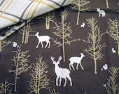 Woodland Napkin - Deer, Trees and Gold Plaid Mix and Match Brown and White