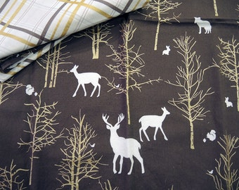 Woodland Napkin Deer, Gold Trees, Deer, Bunny and Squirrel Chocolate Brown Single Napkin