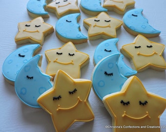 Sleeping Faces on Moons and Stars Decorated cookies for baby showers (#2444)