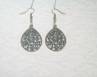 Bronze Filigree Drop Earrings, Detailed Baroque Cut Out Design Dangle Earrings, Bronze and Gold on Kidney Earwires