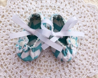 Baby Girl Mary Jane's in Turquoise Chevron