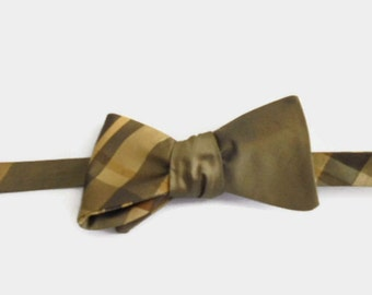 Silk Taffeta Bow Tie Soft Brown Golden Brown Gold Adjustable