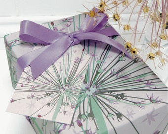 Floral Gift Wrap Set - Giant Allium