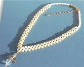 Clearance Sale Angel and Pearl Necklace - Right Angle Weave - Gold Seed Beads - Handmade - Christmas Necklace