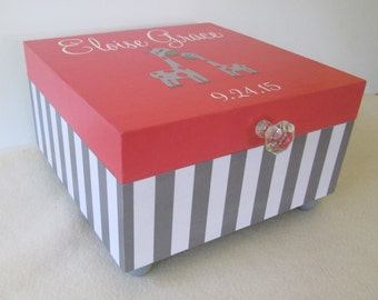 Keepsake Box - Large Keepsake Box - Giraffe - Child's Keepsake Box - Memory Box - Storage Box - Coral and Gray Stripe - Gift