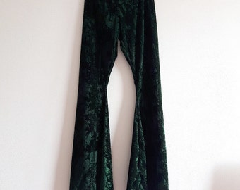 Crushed velvet flared pants bell bottoms hippy