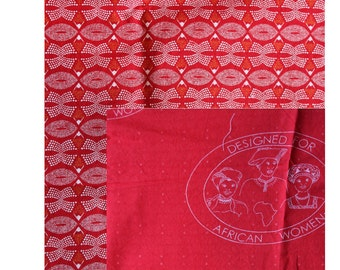 Make Sew your own tote / RED Shwe Shwe African Cotton Fabric Book Bag / RED Shopping Bag / Fabric Tote / ShweShwe Bag / Tote DIY kit
