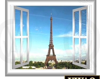 Paris Wall Decal Peel and Stick 3D Wall Decals Window Frame France Eiffel Tower Home Decor GJ01