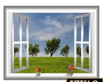 3d birds vinyl decal grassy plains and green trees window frame 3d pop wall art window - Window Frame Wall Art