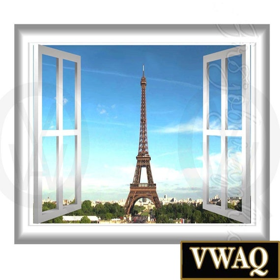 paris wall decal peel and stick 3d wall decals window frame. Black Bedroom Furniture Sets. Home Design Ideas