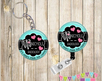 Combo Sale - Badge Reel Keychain Combo - Chest Xray - Inside That Counts - PERSONALIZED - You Choose Color, Chain and Reel Style