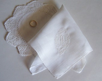 Vintage Wedding Handkerchief Monogrammed H Bride's Antique Hanky in White with Classic Embroidery Design Something Old Wedding Keepsake