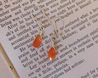 Orange Carnelian Earrings on Sterling Silver Wires