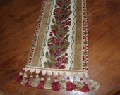 Antique French Chateau table runner cloth, hand made w green red and brocade velvet, tassels, long piece w roses, christmas table linens
