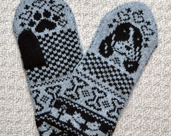 Hand Crafted 100%  wool Mittens , size M / L, folk art, Spaniel dog puppy Fair Isle