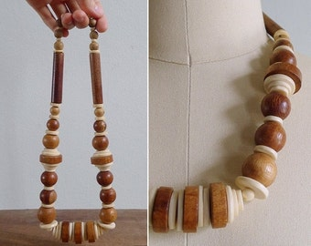 20% CNY SALE - Vintage 80's Boho Wooden Beaded Statement Necklace