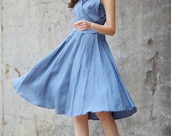 New Linen Dress Sundress Summer Dress in Grey Blue - NC718