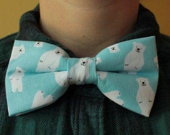 Cute Blue Polar Bear Bowtie/ Bow tie - white bear, snow bear